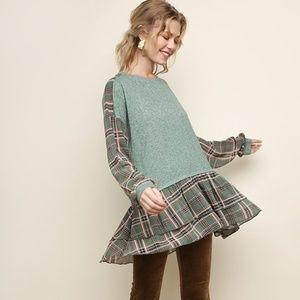 UMGEE Long Sleeve Plaid Fabric and Heathered Knit